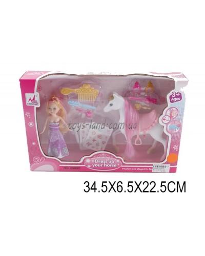 Кукла 05002C (1450669) с лошадкой, расческой,ожерелье,аксесс,  в кор.34,5*6,5*22,5см