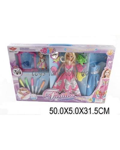 """Кукла типа """"Барби""""Модельер"""" 6628-7 (1496755) куколка, платье-раскраска, флом-ры, кор.50*5*32см"""