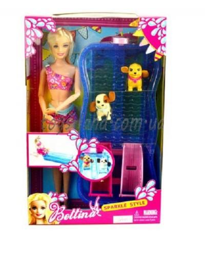 """Кукла типа """"Барби"""" 68012  бассейн с горками,  2 питомца, в кор.26*6*32см"""