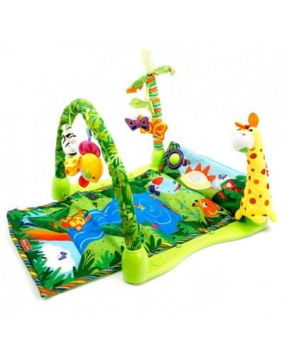 Музыкальный развивающий коврик для малышей «Тропический лес» Baby Gift (3059) в кор.54*40*8,5см