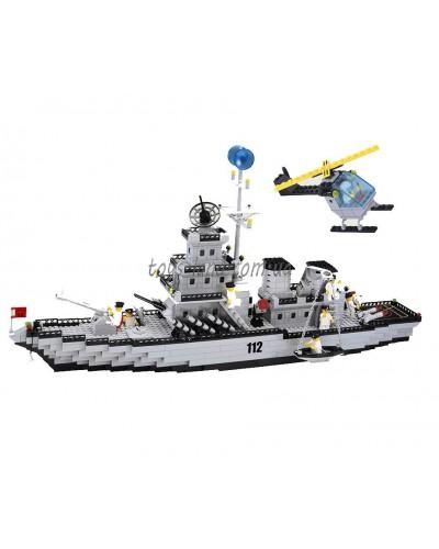 """Конструктор """"Brick"""" 112  """"Военный корабль"""" 970 дет, в разобр. кор. 61*8*31см"""