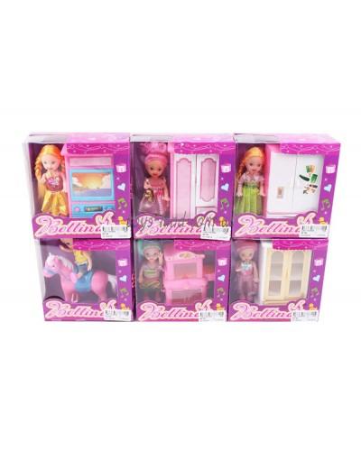 Кукла маленькая 66799 6 видов, с мебелью, лошадкой, в кор.13*14*5 см