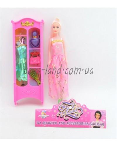 """Кукла типа """"Барби"""" RF-218/51  шкаф с платьем,расческа,сумка,духи,в пакете"""
