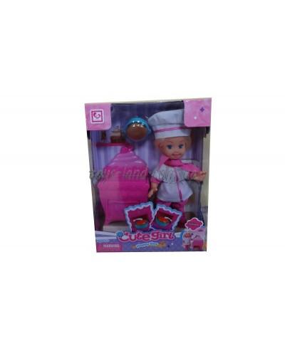 """Кукла маленькая K899-18  """"Кондитер"""", с печкой, пирогом,в кор."""