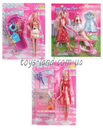 """Кукла типа """"Барби"""" 10111/2/5  3вида, с ребенком, аксес на планшетке 27,5*36см"""