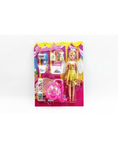"""Кукла типа """"Барби"""" 10204 с набором для уборки на планшетке 27,5*36см"""