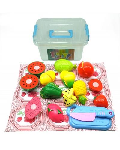 Овощи и фрукты B0963 (1525253)  дел. пополам, с досточкой, ножом, в контейнере 20*15*10,5 см