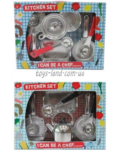 Посуда металл LN754A1/B1 2 вида, кастрюля, шумовка, черпак, чайник, разнос, сковорода...в кор.