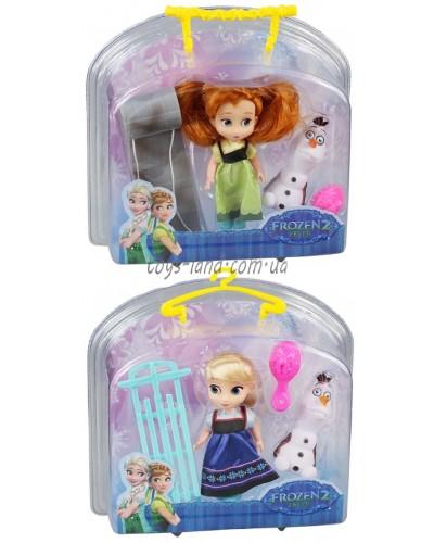 """Кукла """"Frozen"""" ZT8712 2 вида, с санями, расческой, снеговиком, в чемоданчике 23,5*8,5*23,5см"""