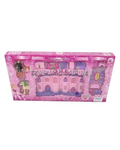 Домик CB686-13(1111392) св/муз, принц, принцесса, кровать, стол+4стула, диван, ванна.., кор.42*4*22с