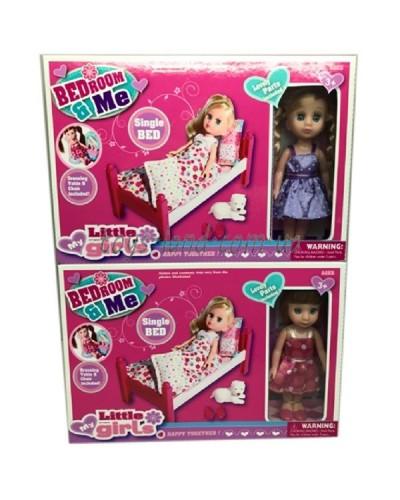 Кукла маленькая 63005W 2 вида, кроватка, питомец, аксесс, в кор.26,5*5,5*18см