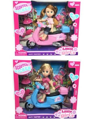 Кукла маленькая 63011 2 вида, мопед, расческа, сумочка, аксесс, в кор.26,5*5,5*22см