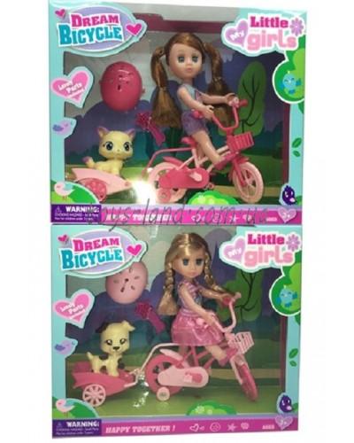 Кукла маленькая 63003 2 вида, питомец, велосипед, шлем, расческа, в кор. 26*6,5*22см