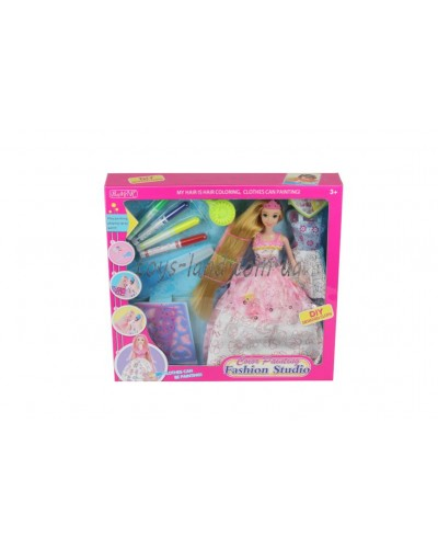 "Кукла типа ""Барби""Модельер"" 904 платье-раскраска,флом-ры,трафареты…,в кор. 35*6*33"