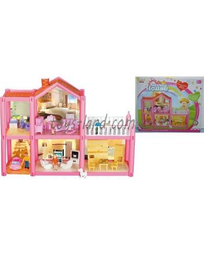 Домик OS954  2-этаж, 113деталей, фигурки, машина, кровать, кухня, детская, ванная, кресла.., в кор.