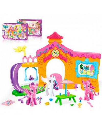 """Домик """"My Little Pony"""" OSB8032  с горкой, фигурки, столик, аксессуары в кор. 39*8*25,5cм"""