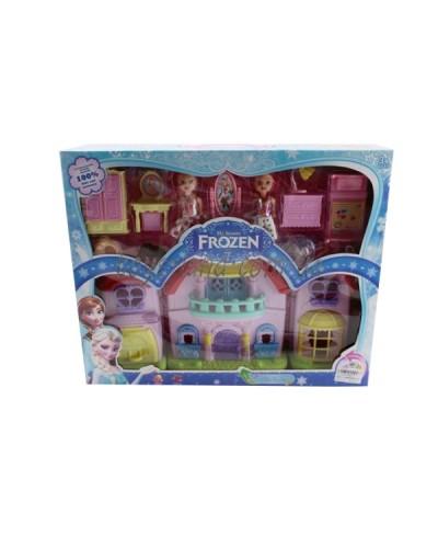 """Домик """"Frozen"""" 8080-2 (1271030)  свет, муз,с 2 куколками, мебелью, в кор. 42*9*34см"""