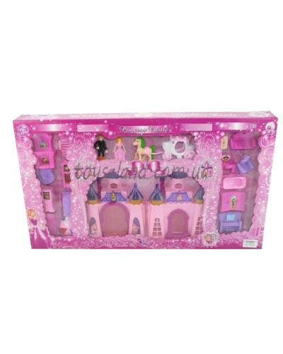 Домик CB688-18 св/муз, принц, принцесса, конь, карета, 15 деталей мебели, кор.64,5*6*36см