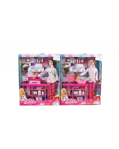 "Кукла типа ""Барби""Доктор"" JX600-52 2вид, пупсик, пеленаль. столик, чемод, мед ин-ты, кор33*7*26см"