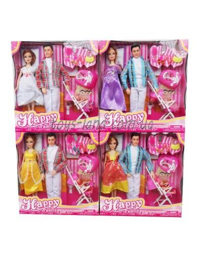 """Кукла типа Барби""""Семья"""" 116-31B 4 вида,29см, беременная, с Кеном, ходунки, коляска, аксес…в кор."""