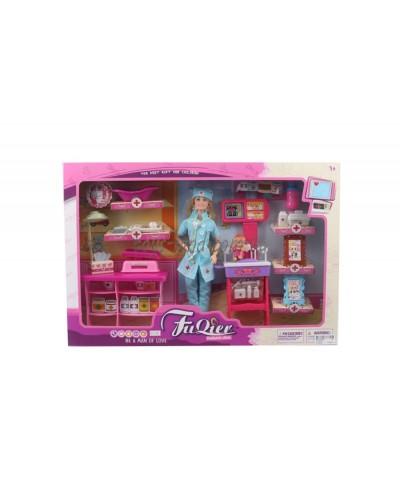 "Кукла типа ""Барби""Доктор"" JX100-28 с мебел, ребенк, ванн, весы, шарнир, в кор.52*7*35см"