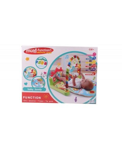 Коврик для малышей 525-003 орган, муз, свет, погремушки, в коробке 52*39*9см