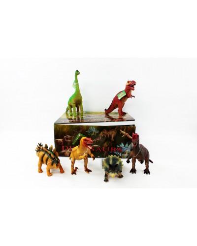 """Животные резиновые K14 12 шт в боксе """"Динозавры"""" ассорти, 30*24*13см"""
