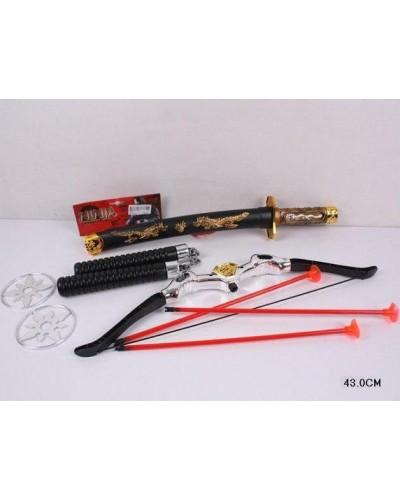 """Набор оружия """"Ниндзя"""" 8610  катана, ножны, сюрекены, лук и стрелы,...в пакете 43см"""