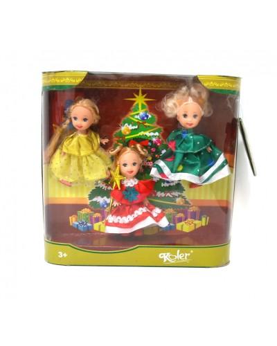 Кукла маленькая 2815D  в наборе 3 куклы, в кор.