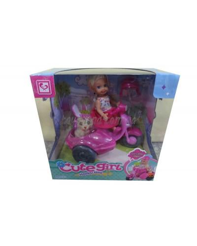 Кукла маленькая K899-15  на мотоцикле,с собачкой,в кор.