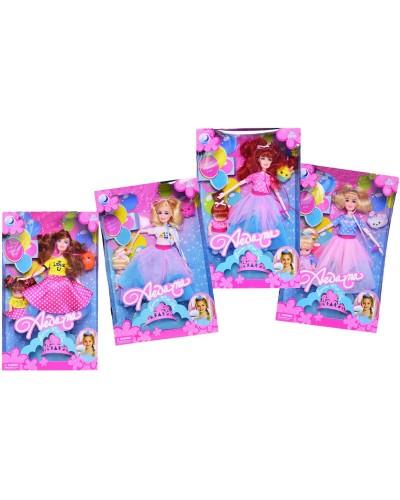 """Кукла типа """"Барби"""" A277 4 вида, с куколкой, короной и фигуркой """"num noms"""",в кор.22*6,5*33см"""