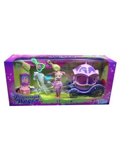 Карета R-3360B с лошадкой, куколкой, расческа,зерк, трюмо, в кор.40*18*11см