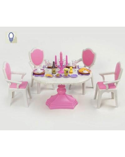 """Мебель """"Jennifer"""" 2837  батар,свет,""""Столовая"""", стол, 4 стула, посуда, в кор. 30*21*9см"""