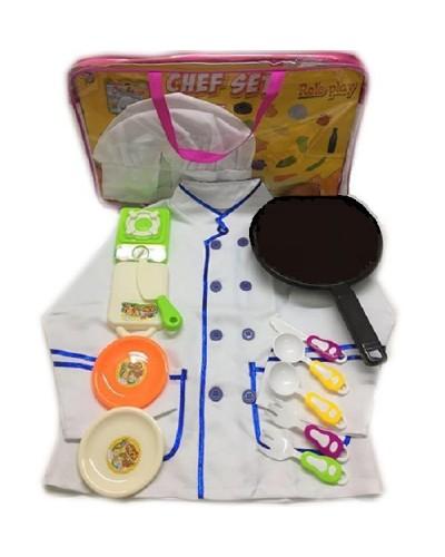 """Набор """"Повар"""" 2011-09 поварской китель, колпак, плита, тарел, доска, сковор...в сумке"""