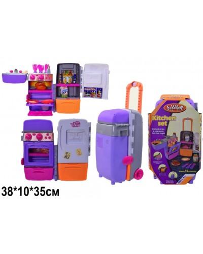 Холодильник-чемодан 9911 батар(3АА), +мойка,духовка,на колесах,продукт, посуд,в кор.36*20*18см