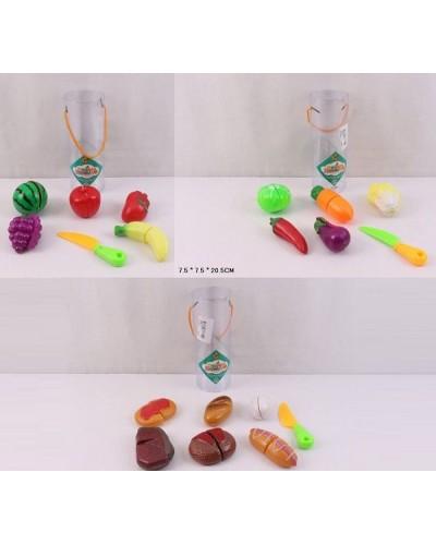 Овощи и фрукты 2236A/B/C 3 вида, делятся пополам, с ножом, в колбе 7,5*7,5*20,5см