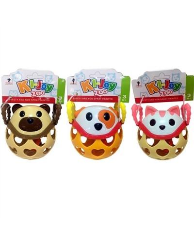 """Погремушка  1302/1303/1305 """"Зоопарк"""" 3 вида, мягкий шарик с ручками, в пакете"""