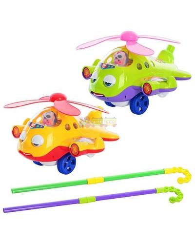 Каталочка вертолет 0301 на палочке, в пакете 26*22*18см
