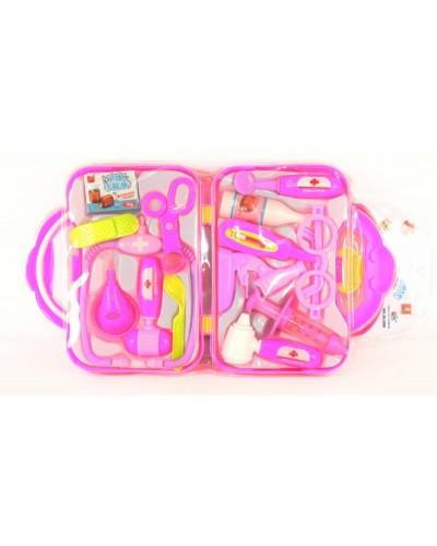 Доктор DL988 стетоскоп, шприц, ножницы, очки, градусник, чемодан.., в слюде 50*26*5см