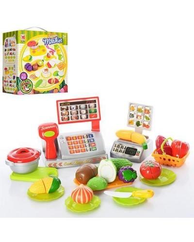 Овощи и фрукты 616A делятся пополам, весы, касса, тарелки, нож, в кор. 22*13*23см