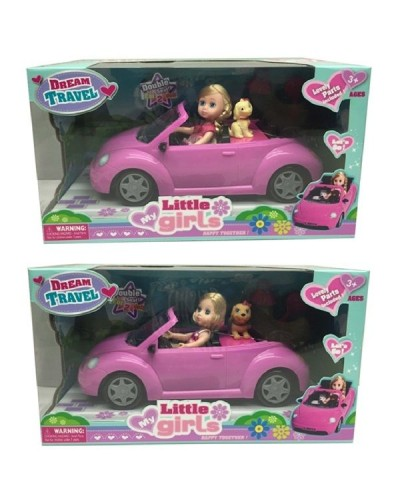 Кукла маленькая 63016 2 вида,в машине,с питомцем,расческа,в кор.36*18*20см
