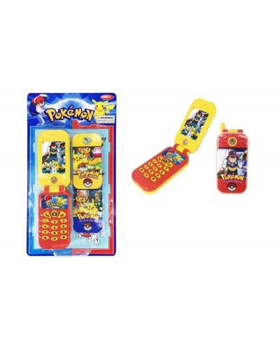 Моб. телефон DB316-1 POKEMON, батар,  2 вида, р-р игр. 4,5*8*1,5 см, на планш. 14*25,5*2см