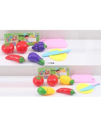 Овощи и фрукты JJL001-2B/3B 2 вида,делятся пополам, нож, тарелка, досточка, в пак.17см