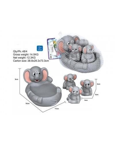 Пищалка OSB9904 слоник и слонята, в сетке 11*16*9см