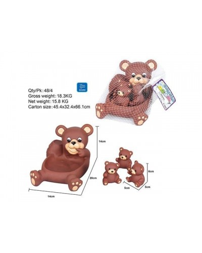Пищалка OSB9903 мишка с медвежатами, в сетке 14*20*14см