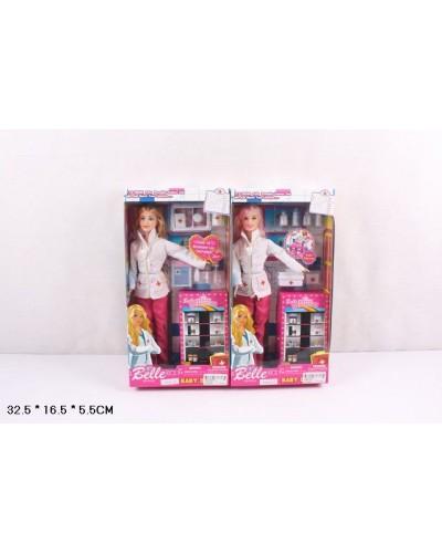 "Кукла типа ""Барби""Доктор"" JX600-49 2 вида, мед ин-ты, чемоданчик, в кор.32,5*5,5*16,5см"