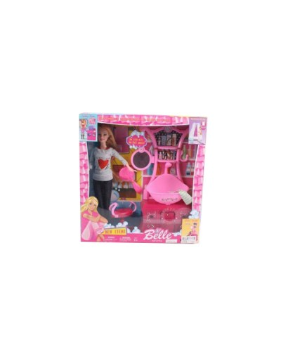 """Кукла типа """"Барби"""" JX600-46 стульчик, расческа, умывальник с тумбой, в кор.31*7*33см"""
