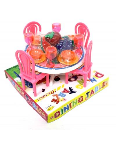 Мебель 966 для столовой, стол, стулья, посуда, в кор.12,5*12,5*10см
