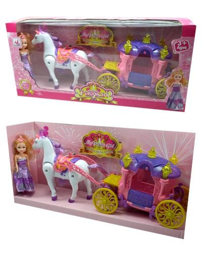 Карета 05011 с лошадкой, муз, свет, ходит, куколкой, в кор.46*11*21см