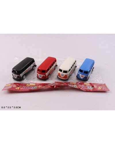 Автобус инерц. 399-155 4 цвета, в пакете,8*3.5*3см